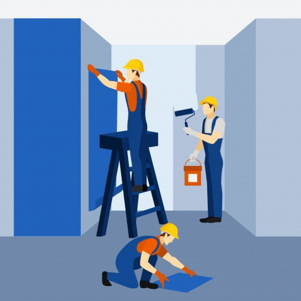 appartment-building-renovation-work-icon-poster